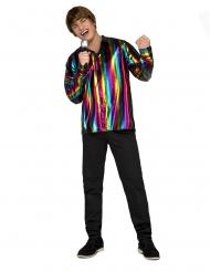 Camisa retro rainbow homem