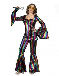 Disfarce disco rainbow mulher
