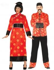 Disfarce casal chinês vermelho adulto