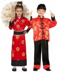 Disfarce casal chinês vermelho criança