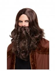 Barba e peruca Viking castanho adulto
