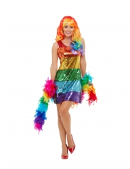 Disfarce lantejoulas arco-íris mulher