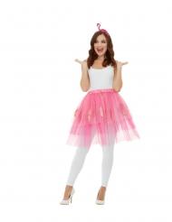 Kit acessórios flamingo rosa adulto