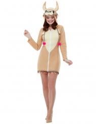 Disfarce vestido com capuz lama mulher