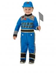 Disfarce piloto de carro de corrida azul bebé
