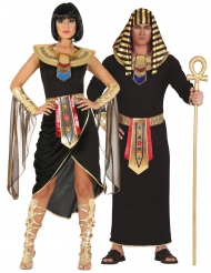 Disfarce de casal egípcio preto adulto