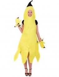 Disfarce banana descascada mulher