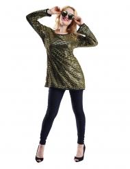 Túnica brilhantes dourado mulher