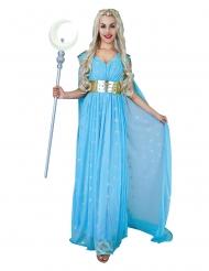 Disfarce princesa medieval azul mulher