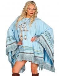 Poncho luxo índio azul adulto