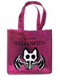 Saco com purpurinas rosa morcego esqueleto
