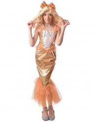 Disfarce sereia laranja menina