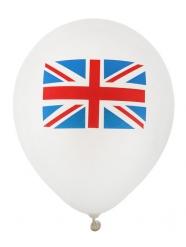 8 Balões de látex bandeira Reino Unido 23 cm