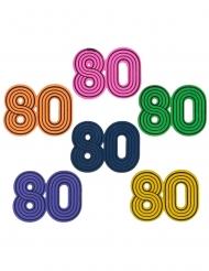 10 Confetis de mesa em madeira anos 80 3 x 3 cm