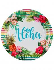 10 Pratos de cartão Aloha 22,5 cm