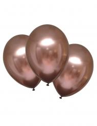 6 balões de látex rosa gold acetinado 28 cm