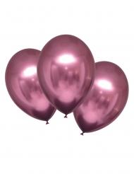 6 Balões de látex rosa acetinado 28 cm