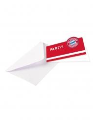 8 Convites com envelopes FC Bayern Munich™ 13 x 8 cm