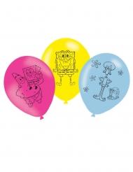 6 Balões látex Bob Esponja™ 27 cm