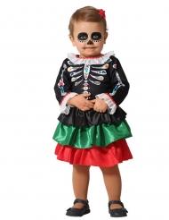 Disfarce esqueleto Dia de los muertos bebé menina