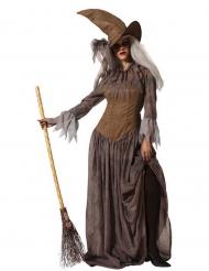 Disfarce com chapéu bruxa castanho mulher