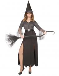 Disfarce bruxa prateado sexy mulher