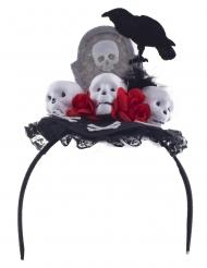 Fita de cabeça corvo Dia de los Muertos