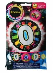 Balão alumínio número 0 colorido Led Illooms® 50 cm