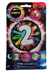 Balão alumínio número 2 colorido Led Illooms® 50 cm