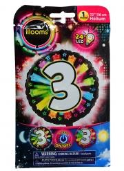 Balão alumínio número 3 colorido Led Illooms® 50 cm