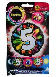 Balão alumínio número 5 colorido Led Illooms® 50 cm