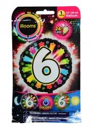 Balão alumínio número 6 colorido Led Illooms® 50 cm