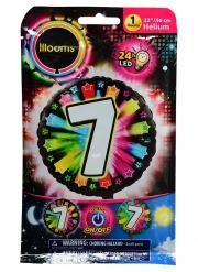 Balão alumínio número 7 colorido Led Illooms® 50 cm