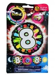 Balão número 8 colorido Led Illooms® 50 cm