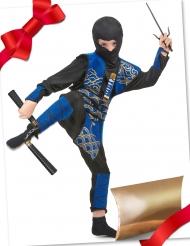 Caixa de presente disfarce ninja azul com acessórios criança