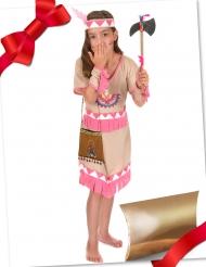 Caixa de presente disfarce índia rosa com acessórios menina