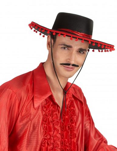 Chapéu espanhol preto e vermelho-1