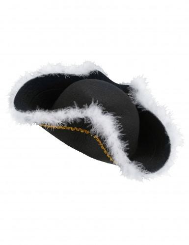 Chapéu de pirata para adulto bordos brancos