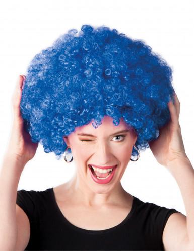 Peruca afro disco azul para adulto