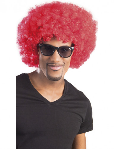 Peruca afro disco vermelha adulto