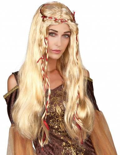 Peruca medieval loira para mulher