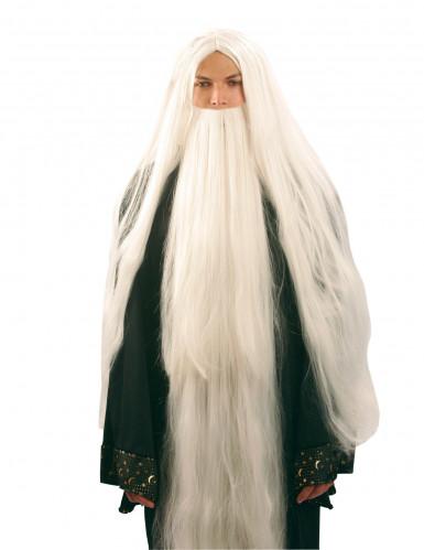 Peruca e barba de mago para homem