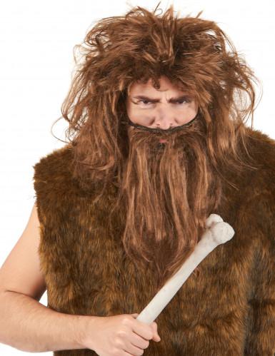 Peruca e barba castanhas do homem das cavernas