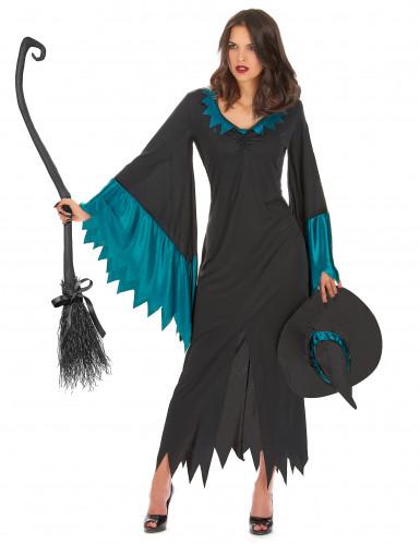 Disfarce de bruxa comprido mulher Halloween