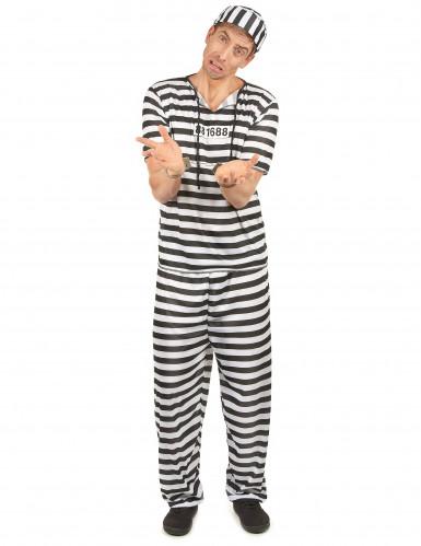 Disfarce de prisioneiro preto e branco adulto