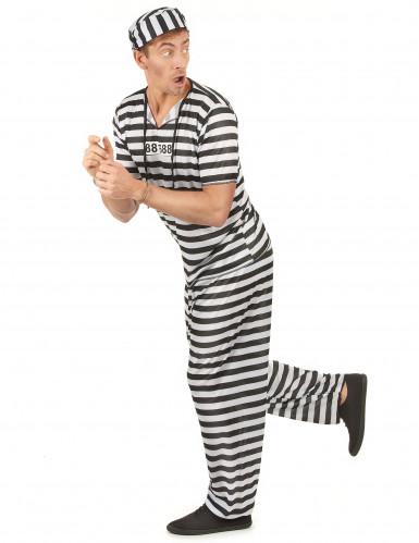 Disfarce de prisioneiro preto e branco adulto-1