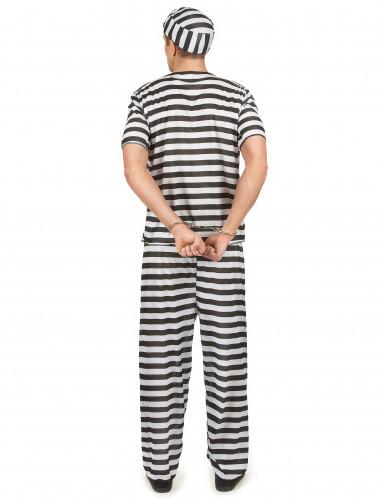 Disfarce de prisioneiro preto e branco adulto-2