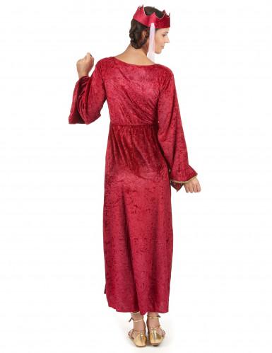 Disfarce de rainha medieval vermelho mulher-2