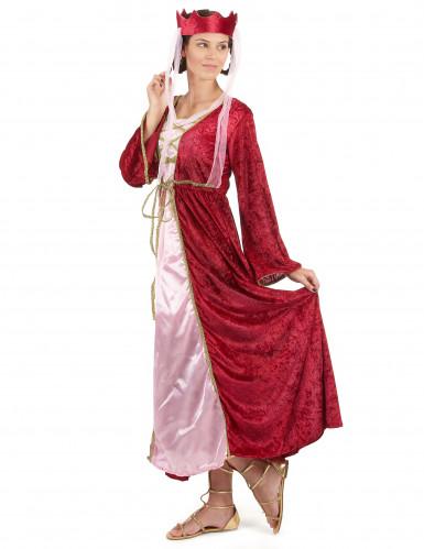 Disfarce de rainha medieval vermelho mulher-1