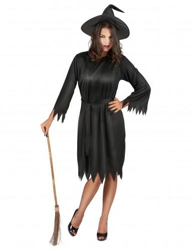 Disfarce preto bruxa mulher Halloween
